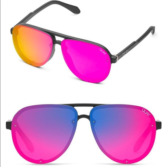 Quay Australia Accessories - Quay Tricky Matte Black with Pink Mirrored Lenses